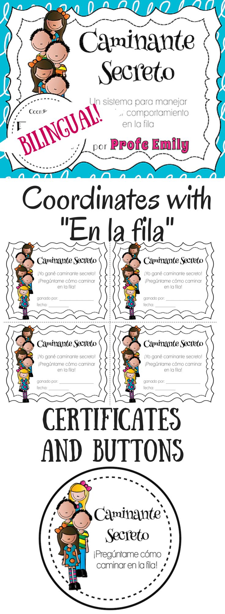 """Bilingual """"Secret Walker"""" resources for classroom management - matches """"En la fila"""" posters perfectly! By Profe Emily"""