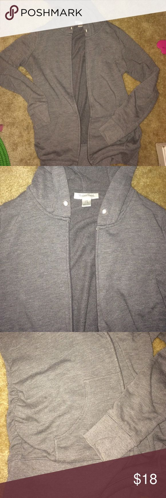 Heather Gray Maternity Hoodie zip up Gray motherhood maternity zip up hoodie. Fits more like xs but is a small. If you have shorter arms it'll work as a small. Didnt for me. Some light pilling and no string threaded through hood. Side ruching to allow belly growth. Motherhood Maternity Sweaters