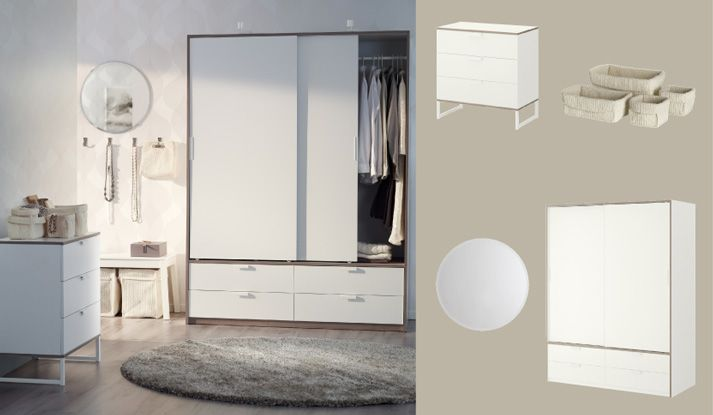trysil wardrobe with sliding doors drawers and chest of drawers all in white light grey ikea. Black Bedroom Furniture Sets. Home Design Ideas