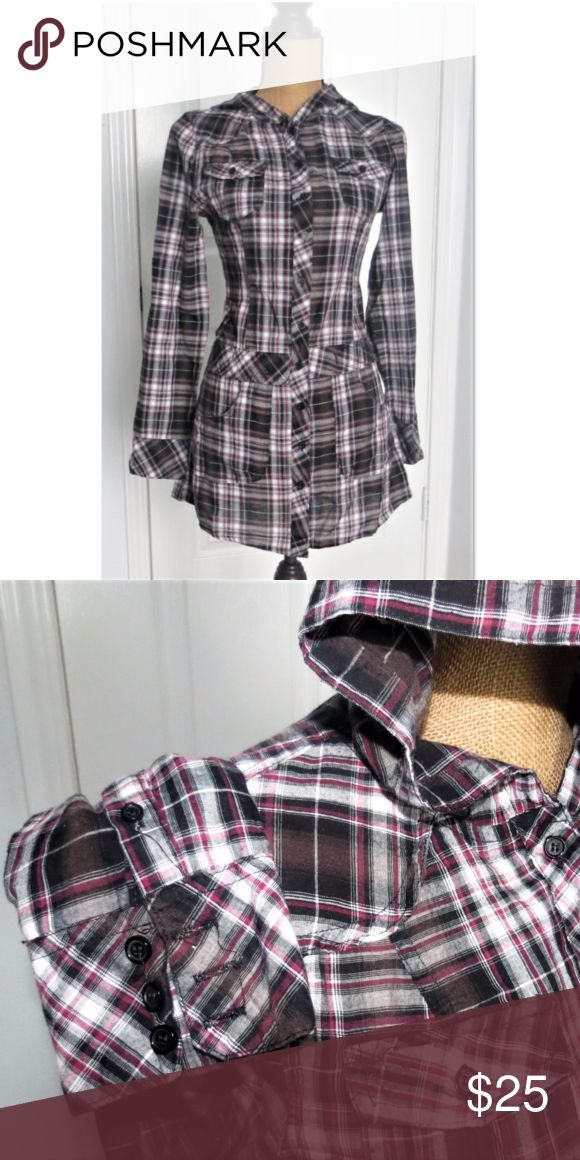 Plaid hooded top This piece features: - Long sleeves that are able to be rolled up and buttoned to the side. - Functional breast and waist pockets - All original buttons - Light hood - Defined waist - Drapes beautifully   Perfectly light for layering or for everyday wear Reminiscent of 90's The Craft, as it is the perfect goth, emo, or geek chic addition to your wardrobe! Tops