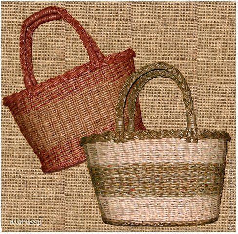 Поделка изделие Плетение Плетёные сумки корзины и другое Бумага газетная Трубочки бумажные фото 2