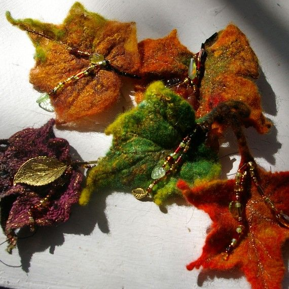 wet felt autumn leaf pins from etsy. was looking for a way to wet felt shapes like this. no directions here, but visual inspiration