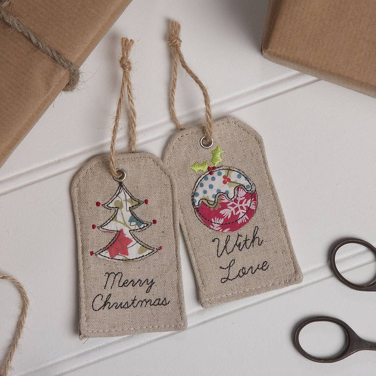 fabric christmas gift tag by the contemporary home | notonthehighstreet.com