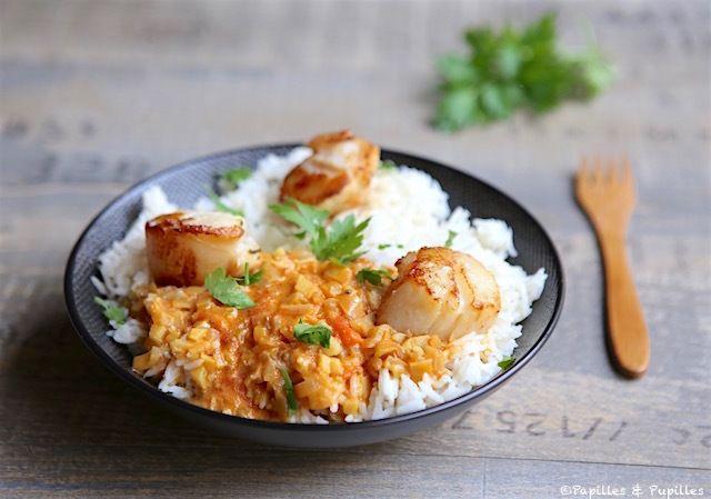 Riz au lait de coco et curry et Saint Jacques rôties
