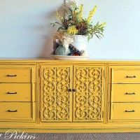 Change the look of a dresser with new bright paint & hardware