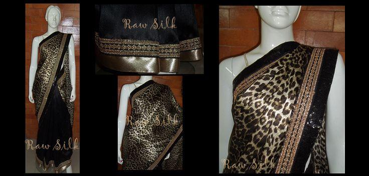 Leopard print satin and black semi raw silk, half and half saree with sequins and zari border.