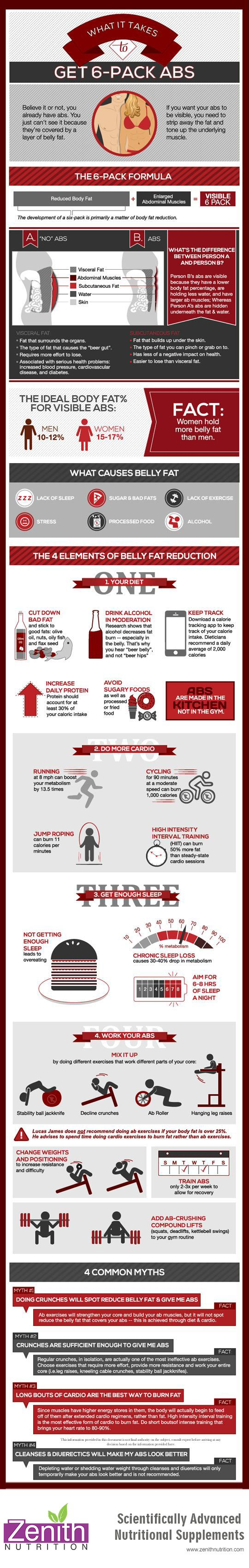 What it Take To Get 6-Pack Abs. The 6-pack formula, the ideal body fat% for visible abs, fact - women hod more belly fat than man, what causes belly fat, the 4 elements of belly fat reduction, 4 common myths. Best supplements from Zenith Nutrition. Health Supplements. Nutritional Supplements. Health Infographics