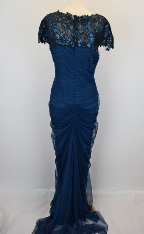 Tadashi Shoji New Navy  Paillette Lace and Tulle Gown Size 14 MSRP $409 #D 22311
