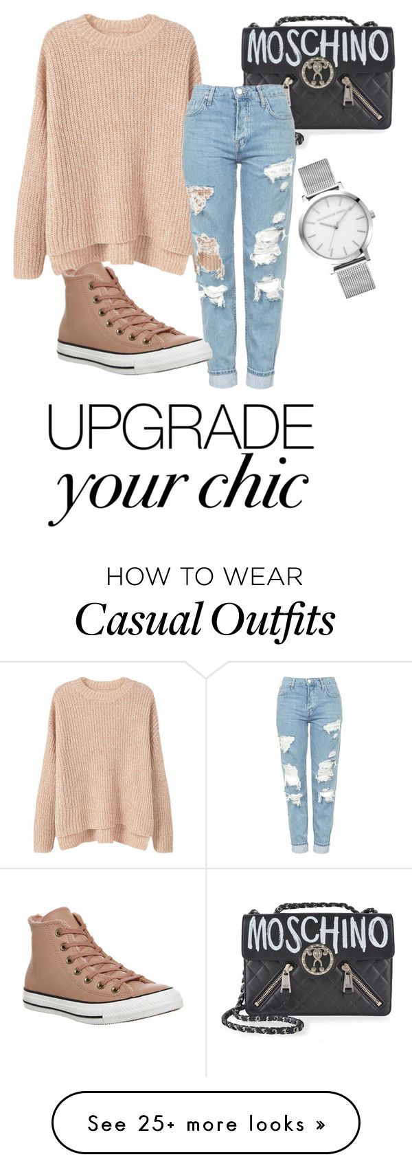 """Street Casual"" by shoelover12 on Polyvore featuring MANGO, Moschino, Topshop and Converse"