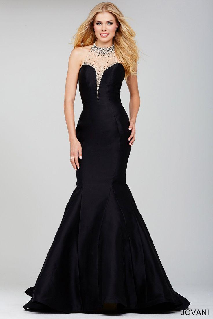 Form fitting long black dress
