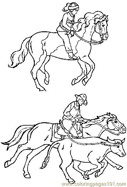 Horse Riding Coloring Page 06 For Kids And Adults From Sports Pages Others
