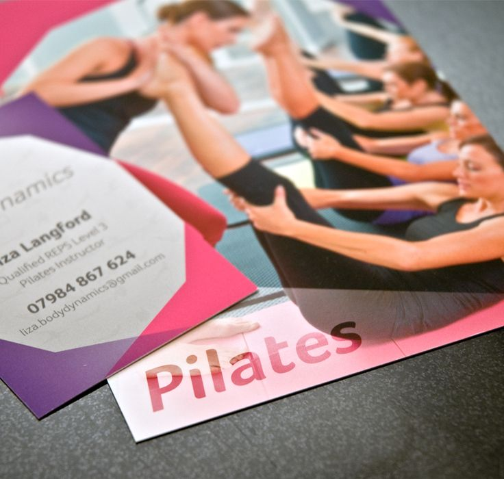 pilates flyer & business card. Soft Touch laminate. By Sama Studio Ltd.