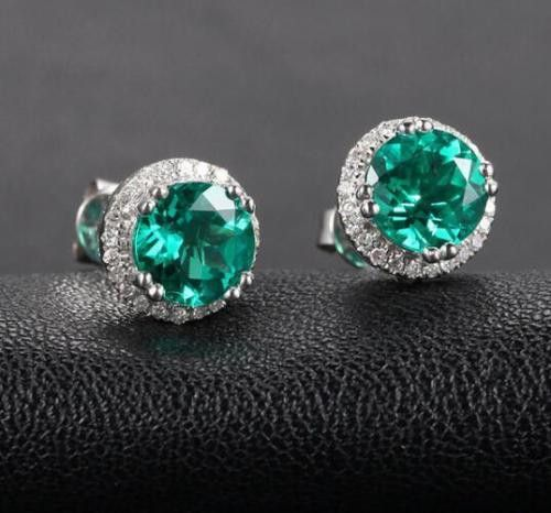 $499 Round Green Emerald Earrings Diamonds Halo 14K White Gold 7mm , Stud