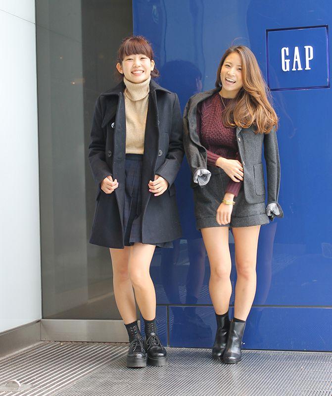 【フラッグシップ原宿スタッフ注目コーデ】 今年も秋冬はネイビーとグレーが大活躍。(右)セットアップをショーパンで軽くハズして。(左)深めのタートルが今年っぽい秋の定番スクールガール。  ■オンラインストアはこちら   http://www.gap.co.jp/browse/subDivision.do?cid=5643   ■フラッグシップ原宿 http://loco.yahoo.co.jp/place/g-NGqr9rKmVZc/