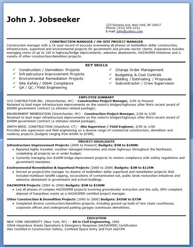 Construction Manager Resume PDF Resume Resume pdf, Project