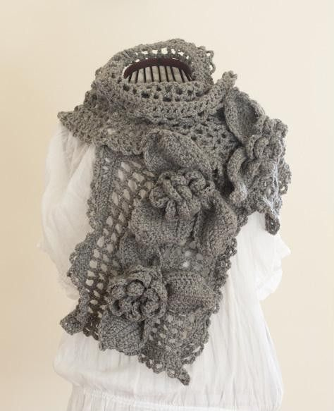 CROCHET PATTERN - Ice Queen Scarf - beautiful unique large feminine grey gray rose lace shawl tutorial PDF