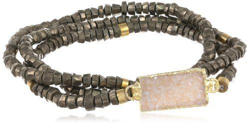 Mickey Lynn Jewelry Pyrite Heishi Bracelet, One Strand with Druzy Set of Three Stretch Bracelets