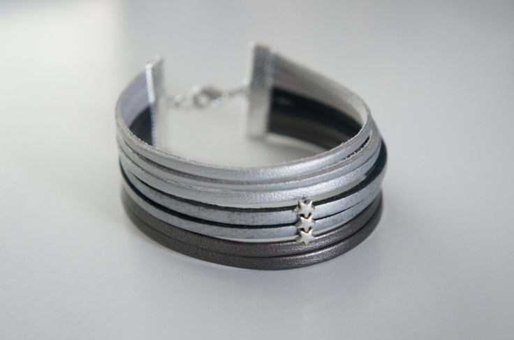 Bracelet argent cuir et simili - Little Shiny : Bracelet par rocky-so-chic-bijoux