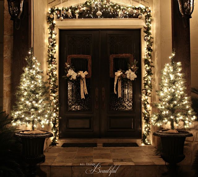 Christmas Porch {Garland} with White String Lights from All Things Beautiful