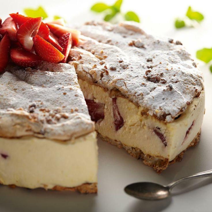 Daquase orzechowo-truskawkowy #lidl #przepis #deser #daquase #ciasto