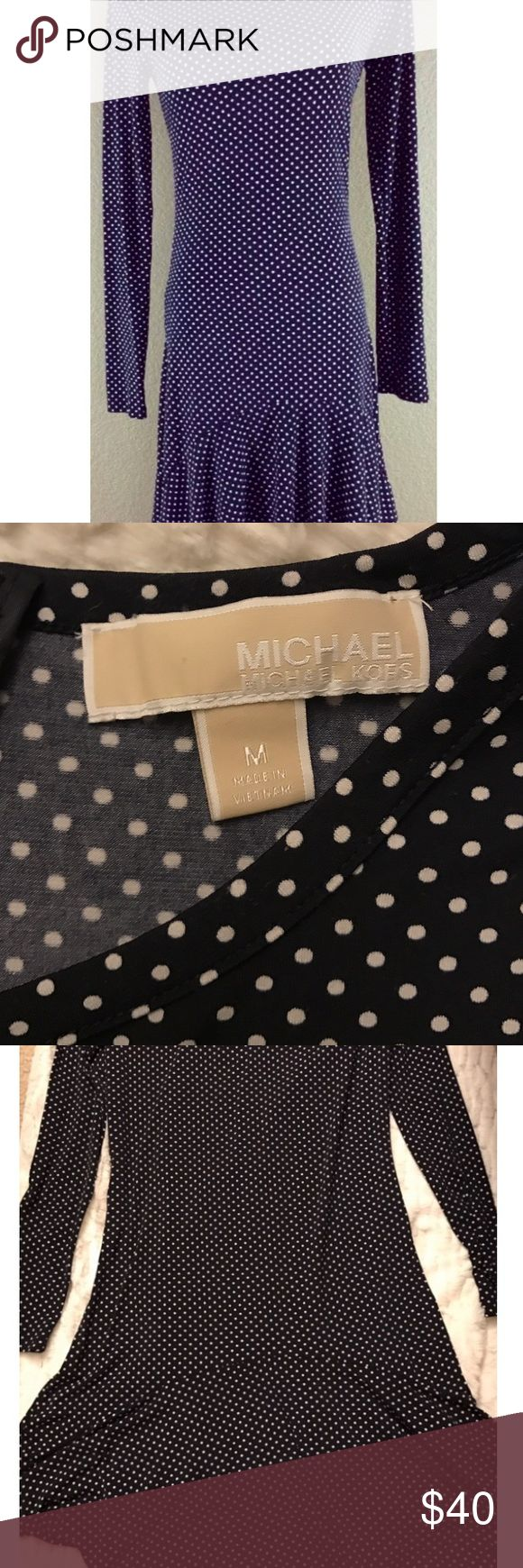 Michael Kors Navy Polka Dot Long Sleeve Dress Michael Kors navy and white polka dot long sleeve dress in a stretchy material. Size medium and only worn once! The bottom of the dress is asymmetrical and flowy! Michael Kors Dresses Asymmetrical