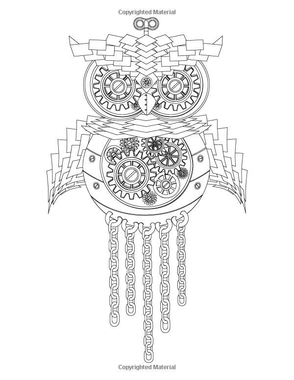 Steampunk owl coloring pages Steampunk animals coloring book