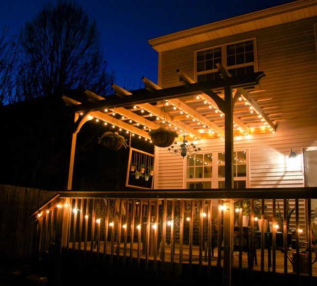 Perfect Glitter And Goat Cheese   Deck And Pergola Strung With Globe Lights
