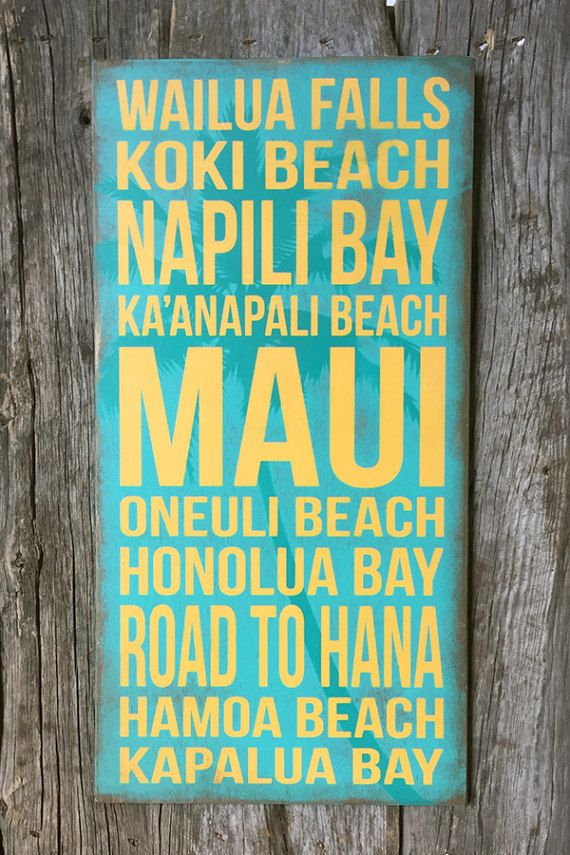 This MAUI sign is painted on a teal, distressed background. A sawtooth hanger is attached to the back and ready to hang. This sign does NOT have a sealant on it, and is not recommended for outdoors. DETAILS: • yellow on teal background • made of Baltic Birch • 3/8 thickness • 12 (w) x 24 (h) I DO accept orders for custom variations on size and color. *Price will vary on custom orders. PLEASE NOTE: No two signs will be EXACTLY alike. Each one is painted and distressed by hand, which ma...