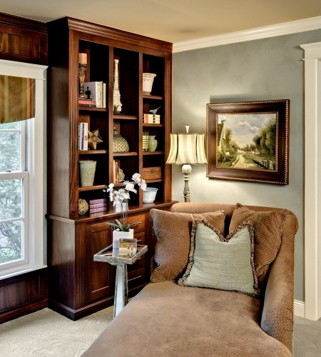 87762a2edb wood panel and trim detail against wall paint and white trim-theatre room
