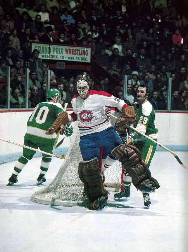 Ken Dryden and the Canadiens hosting the Minnesota North Stars.