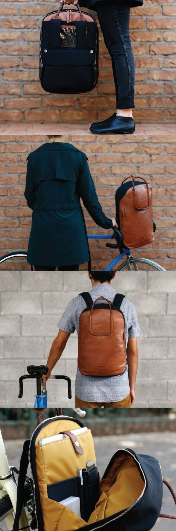 Tastefully marrying #Leather and #Fabric, these #backpacks lend themselves to easy cycling in numerous ways. You have junctions to connect your #helmet to the #backpack, and even strap your #flashlight #YankoDesign