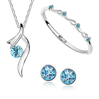 Silver plated  jewelry for fahsion  women /Korea crystal jewelry three pieces necklace +bracelet+earrings-A31+B133+E29