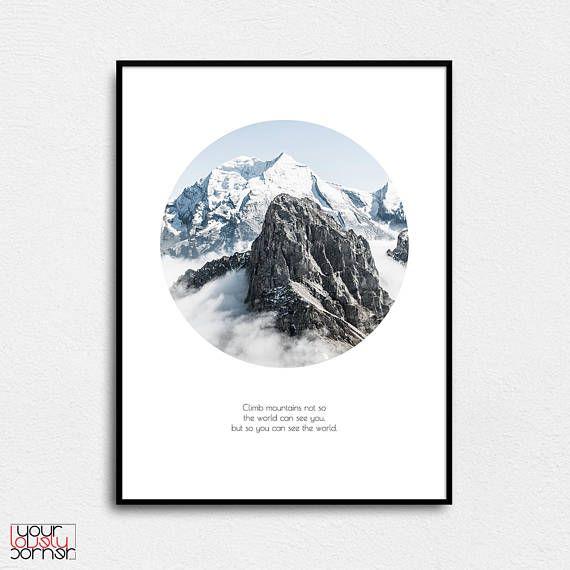 Circle mountain Minimalist wall art Motivational quote