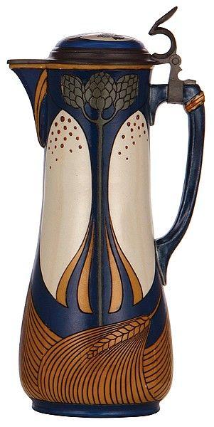 Mettlach stein, etched, Art Nouveau.