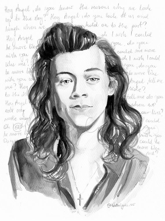 "Harry Styles Watercolour Portrait with ""Hey Angel"" Lyrics One Direction"