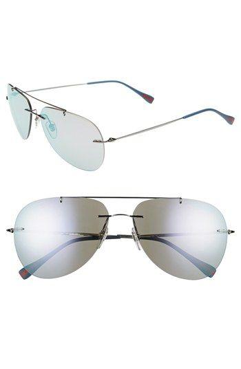 Prada 'Pilot' 60mm Rimless Sunglasses