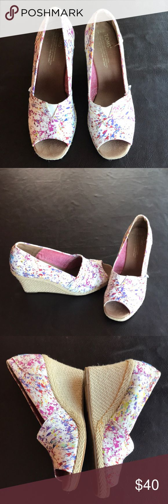 💕💕Women's toms shoes Women's Toms shoes-wedges worn once! In like new condition. Toms Shoes Wedges