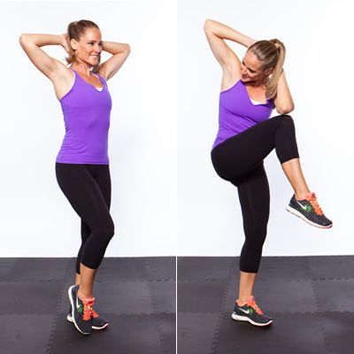 I love doing crunches standing up because one, better for back, two, dogs are climbing all over me thinking I'm a playgym. This and side crunches. GREAT for muffin top. Instead of: Bicycle CrunchesTry This: Standing Bicycle Crunches