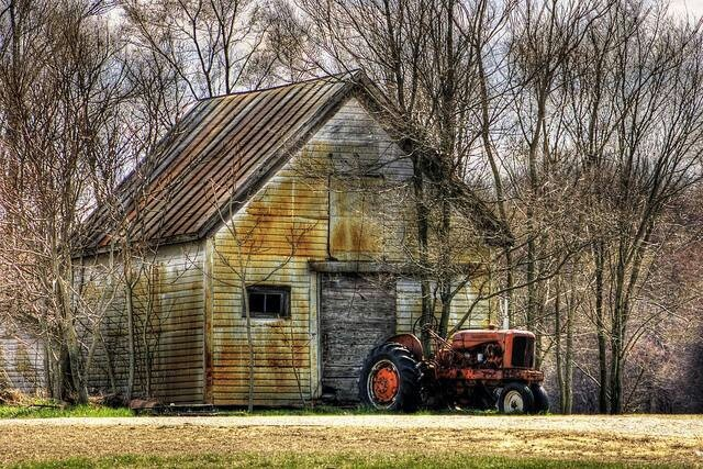 Old barn and tractor