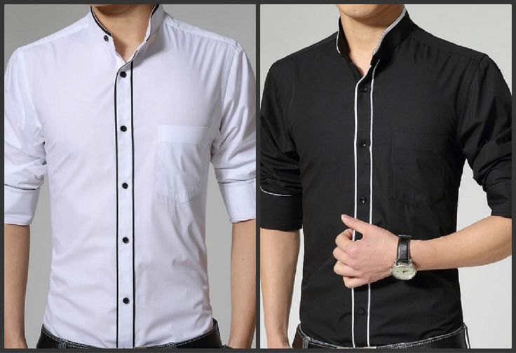 Xmas Sale!!! Stylish band collar slim fit long sleeve shirts-$29.00 Available in Black and White
