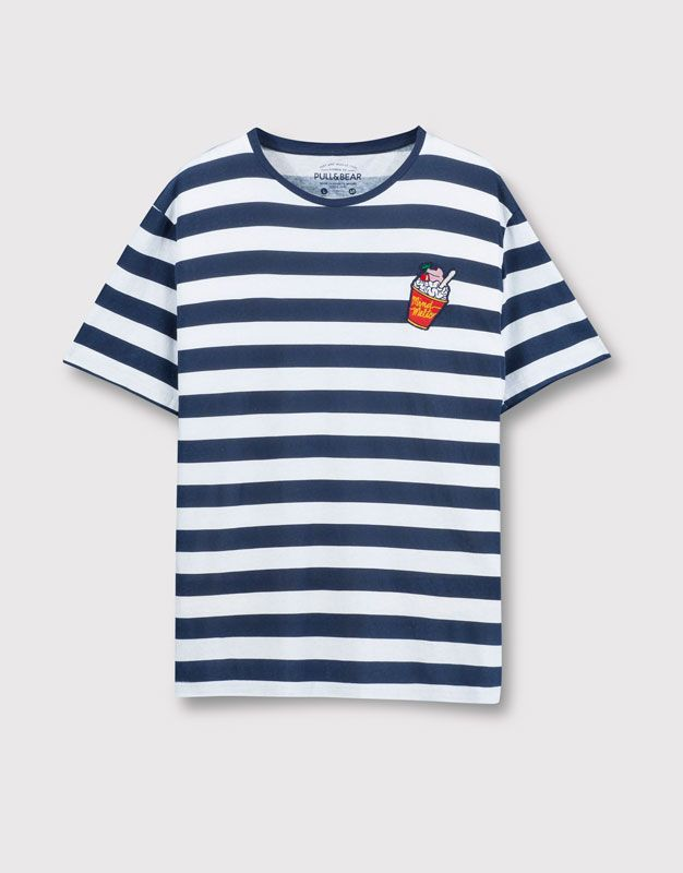 Pull&Bear - man - t-shirts - striped t-shirt with patch - navy…