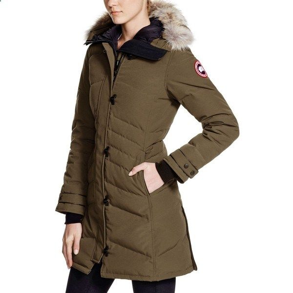 Canada Goose Lorette Down Coat with Coyote Fur ($795) ❤ liked on Polyvore featuring outerwear, coats, military green, green parka coat, canada goose parka, ...