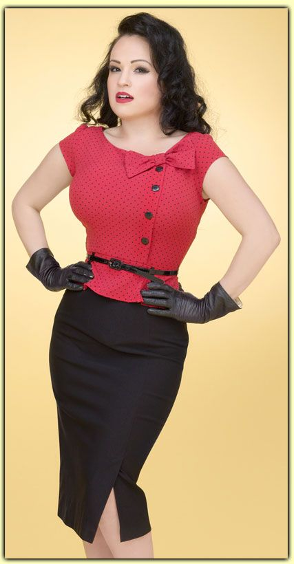Red, black pin dot blouse with black pencil skirt & black gloves. rockabilly fashion.