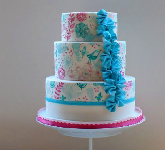 Pretty Pink  Turquoise Hand Painted Tiered Cake