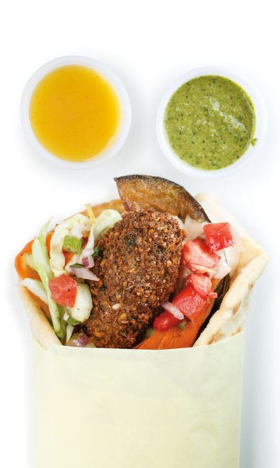 Falafel with mango pickle purée and zhug at ChickPeaDX