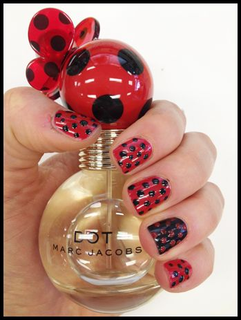 red and black nail art - Marc Jacobs Polkadot Manicure