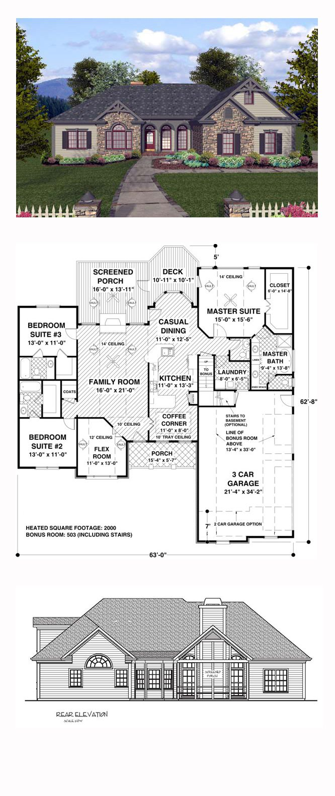 150 best house plans images on pinterest small house plans craftsman european ranch house plan 74812