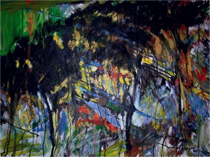 """""""Trees"""" Original title: Alberi Oil and Acrylic on canvas 70 x 80 cm Summer - Fall 2012"""
