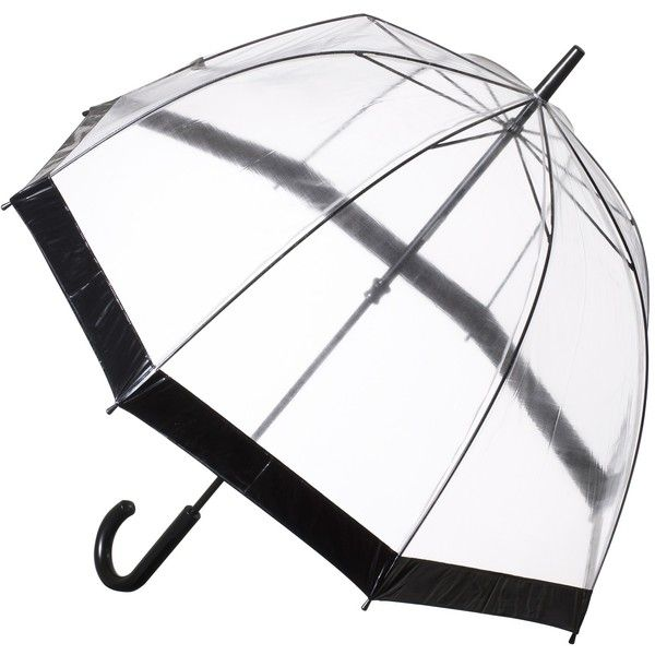 Fulton Birdcage Domed Umbrella ($25) ❤ liked on Polyvore featuring accessories, umbrellas, umbrella, other, black, dome shaped umbrella, fulton umbrella, fulton, transparent umbrella and transparent dome umbrella