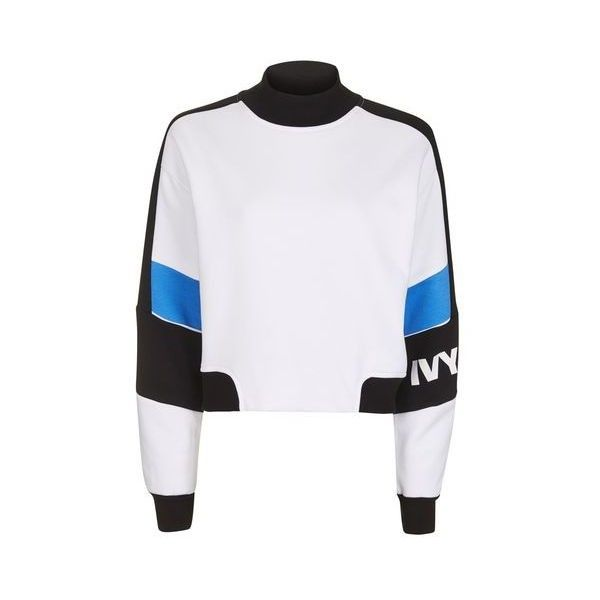 Colour Block Crop Sweat by Ivy Park ($58) ❤ liked on Polyvore featuring tops, hoodies, sweatshirts, multi, cotton crop top, cut-out crop tops, color block tops, color-block sweatshirt and block top